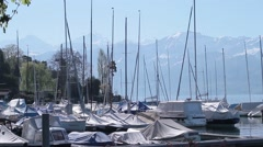 Sailboats with Swiss Alps - stock footage