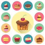 Confectionery set of isolated cakes icons with shadows - stock illustration