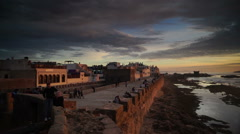 View of Atlantic ocean with cloudy sky, Essouira, Morocco Stock Footage