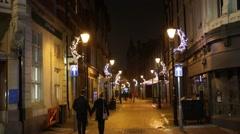 Little European Christmas Street with Christmas lights, England, Europe Stock Footage