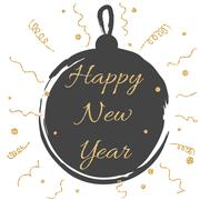 New year card with black ball and gold glitter confetti Stock Illustration