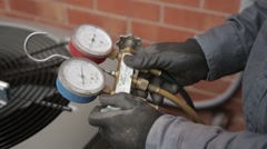 Pressure Gage Test for Home Heat Pump. - stock footage
