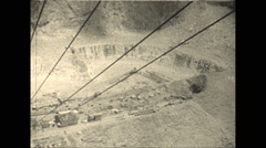 Vintage 16mm film, 1928, South Africa, Diamond mine looking down, cable car Stock Footage