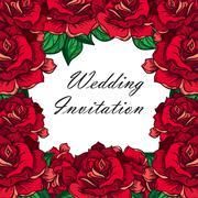 Hand Drawn Wedding Rose Frame - stock illustration