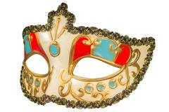 Carnival mask gold-painted curlicues decoration blue and red inserts half mas Stock Photos