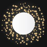 Gold star sparkles on black background with white round copy space in center Piirros