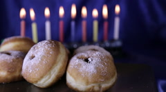 Sufganiyot of Hanukkah traditional delight Stock Footage