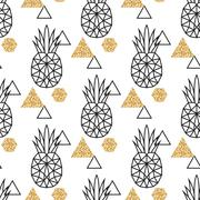 Stock Illustration of Line geometric pineapple and gold shimmer dot shapes seamless vector pattern