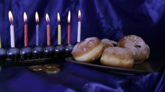 Hanukkah table traditonal set Stock Footage