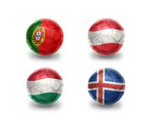 Stock Illustration of euro group F. realistic football balls with national flags of portugal, austr