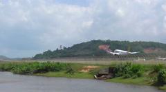 Tigerair Airbus 320 landing, slow motion Stock Footage