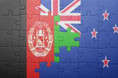 puzzle with the national flag of afghanistan and new zealand - stock photo
