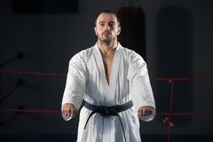 Taekwondo Fighter Expert With Fight Stance - stock photo