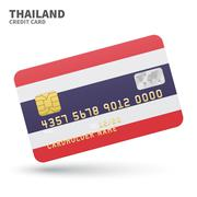 Credit card with Thailand flag background for bank, presentations and business Stock Illustration