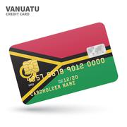 Credit card with Vanuatu flag background for bank, presentations and business Stock Illustration