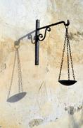 Balance icon of Goddess of justice - stock photo