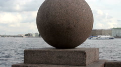 Granite spheres on the arrow of Vasilevsky island in St. Petersburg. Stock Footage