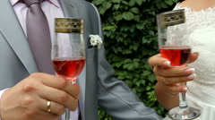 The bride and groom with wine glasses in hand at a wedding. Stock Footage