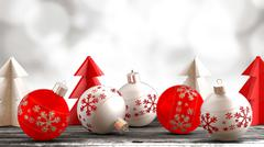 Christmas ornaments on a wooden table with a bokeh background. Stock Illustration