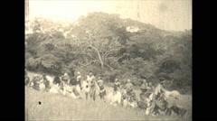 Vintage 16mm film, 1928, South Africa, Zulu reenactment #3 Stock Footage
