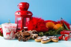 Red lantern and green pine on aquamarine background - stock photo