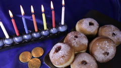 Top dolly shot over Hanukkah table Stock Footage