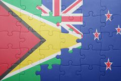 puzzle with the national flag of guyana and new zealand - stock photo