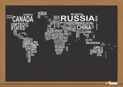 Illustration of world map with country name on chalkboard Stock Illustration