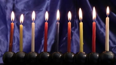 Hanukkah menorah frontal view Stock Footage