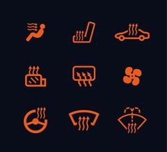 vector collection of orange car heating dashboard panel indicators - stock illustration