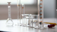 Laboratory test tubes and beakers Stock Footage