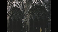 Vintage 16mm film, 1965, UK, gothic church #2 Stock Footage