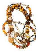tangled necklace from amber, tigers eye beads - stock photo