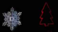 Christmas symbols Led lights Stock Footage
