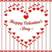 Valentines Day Card: Heart Flowers and Cherries on White Background Stock Illustration
