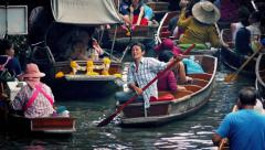 Heavy Boat Traffic In Thai Floating Market Stock Footage
