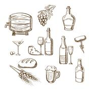 Stock Illustration of Sketches of alcohol, drinks and snacks