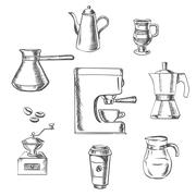 Beverage sketch icons around the coffee machine Stock Illustration