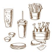 Fast food snacks and drinks sketch icons Piirros