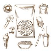 Pizza, ice cream and fast food snacks Piirros