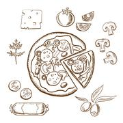 Pizza with ingredients, sketch objects - stock illustration