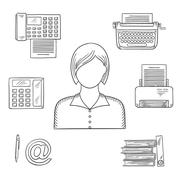 Stock Illustration of Secretary or assistant profession sketch icons