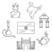 India culture and travel concept Stock Illustration