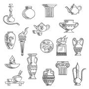 Various containers and kitchenware sketches Stock Illustration