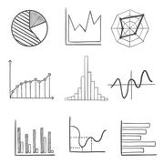 Sketched business graphs and charts - stock illustration