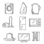 Kitchen and home appliance sketched icons Stock Illustration
