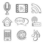 Telecommunication and multimedia sketched icons Stock Illustration