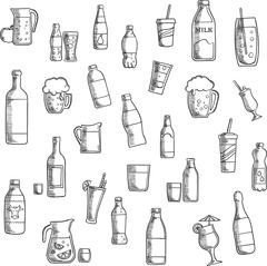 Beverages, cocktails and drinks sketched icons Piirros