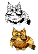 Cartoon striped owl with flapping wings Stock Illustration