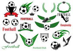 Football or soccer sport game design elements Stock Illustration